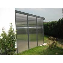 Standaard wandmodule 3 meter schuine zijde voor overkapping in polycarbonaatplaat